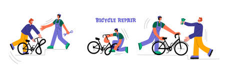 Bicycle repair. The mechanic repairs the bicycle, the mechanic inflates the wheels. The man brought a broken bike. Vector flat Illustration. Web graphics, banners, advertisements, business templates.