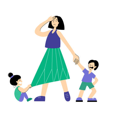 Mom is tired of children. Frustrated parent concept. The negative aspects of family relationships. Vettoriali
