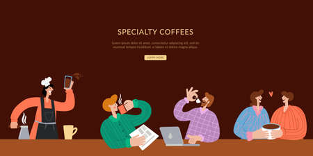 Specialty coffee Landing page template. The barista makes coffee, and people sit and drink coffee. Website brown landing web page template.