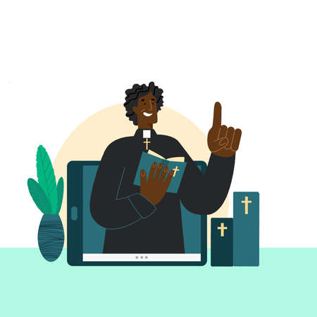 The pastor conducts church services online. Concept Church and Liturgy online. Priest is african american man. Internet Church. Ilustração