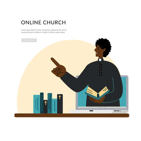 Concept Church and Liturgy online. The pastor conducts church services online. Dark skinned pastor. Internet Church, Landing page template.