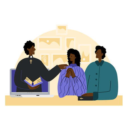 The pastor conducts church services online. Concept Church and Liturgy online. Young African American couple listens to the priest. Internet Church.