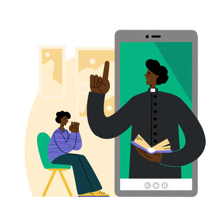 The pastor conducts church services online. African American man prays in front of a smartphone. Concept Church and Liturgy online. Internet Church.