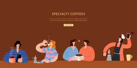 The barista makes coffee, and people sit and drink coffee. Specialty coffee Landing page for small business. Homepage website layout design concept.