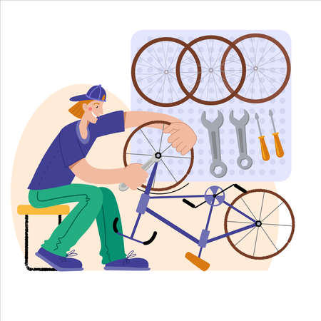 Bicycle repair. A man repairs a bicycle. The mechanic repairs the bicycle, the mechanic inflates the wheels. Web graphics, banners, advertisements, business templates. Vector illustration