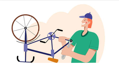 Illustration of a man repairs a bicycle.