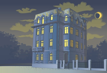 victorian tall house at midnight Stock Vector - 12462618