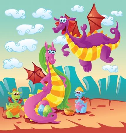 creature of fantasy: dragon family scene Illustration