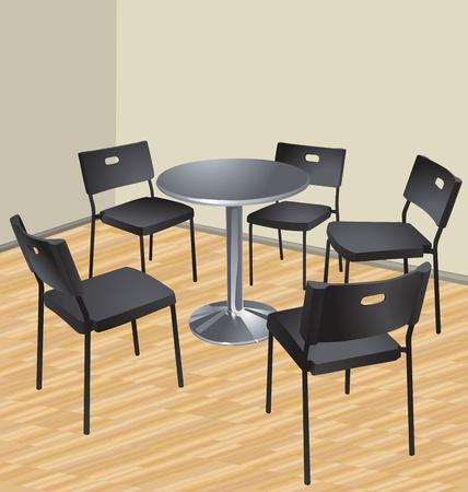cinq chaises et une table