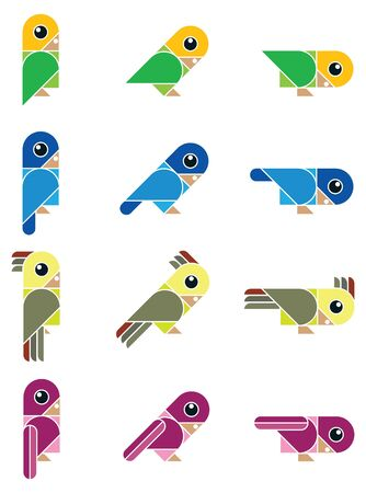 tweet: isolated vector illustration with funny colored birds Illustration