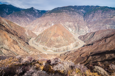 Great bend of yangtze river,Yunan, China. photo