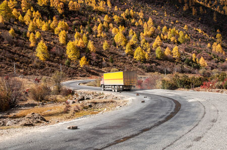 Autumn view of mountain road in Shangri-la,Daocheng,sichuan,China. photo