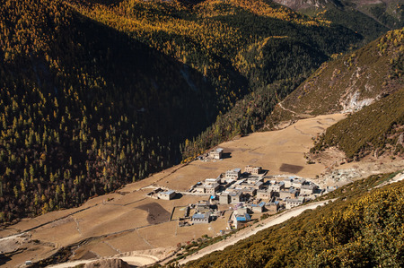 scene of yading village in  Daocheng, Sichuan Province, China. photo