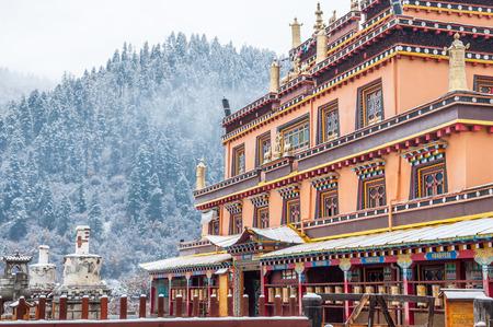 Winter landscape and tibetan monastery in Zhongdian,Yunan,China.