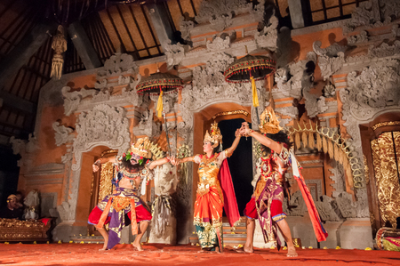 ceremonial: Bali, Indonesia, April 21,2010 :  Barong Dance show, the traditional balinese performance in Ubud, Bali, Indonesia. This famous play represents an fight between good and bad gods.