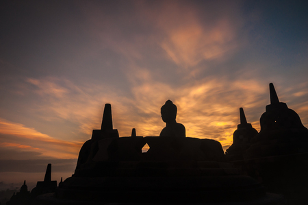Borobudur Temple at sunrise, Yogyakarta, Java, Indonesia. (silhouette scene) Zdjęcie Seryjne