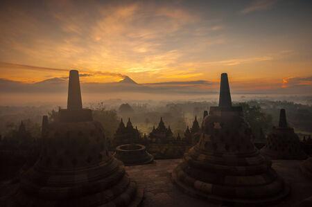 Borobudur Temple at sunrise, Yogyakarta, Java, Indonesia. (silhouette scene) photo