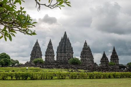 jogjakarta: Prambanan temple on cloudy day in Yogyakarta , Java island, Indonesia. Stock Photo