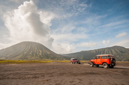 Java,Indonesia-Arpil 25,2010 : Tourists 4x4 Jeep for tourist rent at Mount Bromo,The active Mount Bromo is one of the most visited tourist attractions in East Java , Indonesia.