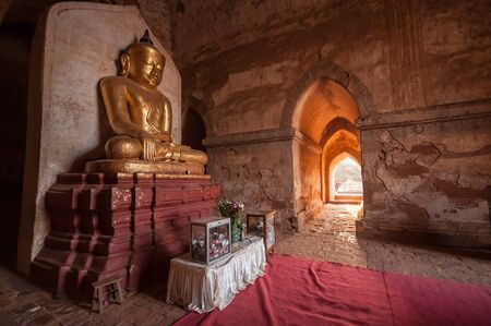 archaeological sites: Buddha sculpture inside Dhammayangyi Temple in Bagan,Myanmar.Bagan is well known as the city of thousands of pagodas and one of the richest archaeological sites in Asia.