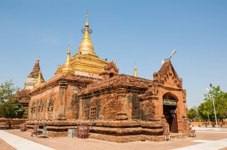 intermediate: The Ahlodawpyae  Paya pagoda in Bagan Myanmar. Located between the new Bagan and the village of Bagan this temple is style of tradition between the first period and the intermediate period. Stock Photo