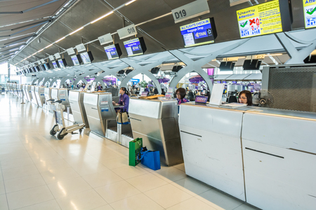 airway: Bangkok,Thailand-August 31,2014 : Thai airway empty check in desk  in Suvarnabhumi Airport  in Bangkok ,Thailand.This airport is handling about 45 million passengers annually.