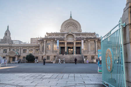 hondo: Tokyo, Japan -November 21, 2015 : Tsukiji Honganji temple was lost in the Great Kanto Earthquake of 1923, and the present temple that replaced it, with its Indian architectural motif. Editorial
