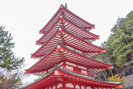 Chureito red pagoda in  Fujiyoshida, Japan.