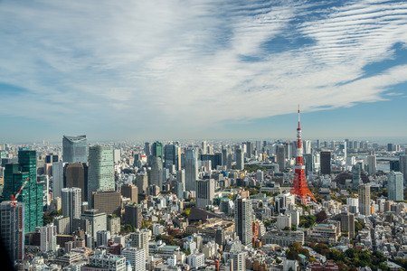 tokyo prefecture: Tokyo, Japan - November 21, 2015:View of Tokyo tower in the Kanto region and Tokyo prefecture, Japan, the first largest metropolitan area in Japan. Downtown Tokyo is very modern with many skyscrapers.