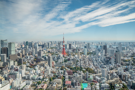mori: Tokyo, Japan - November 21, 2015:View of Tokyo tower in the Kanto region and Tokyo prefecture, Japan, the first largest metropolitan area in Japan. Downtown Tokyo is very modern with many skyscrapers.