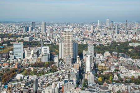 tokyo prefecture: Tokyo, Japan - November 21, 2015:View of Tokyo city view from Mori Tower in the Kanto region and Tokyo prefecture, Japan, the first largest metropolitan area in Japan. Downtown Tokyo is very modern with many skyscrapers.