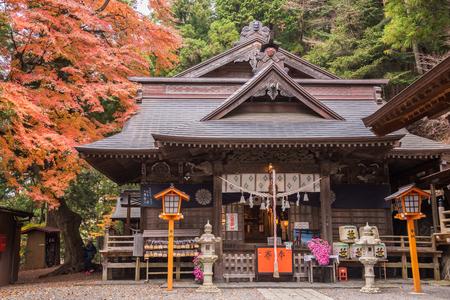 sengen: Fujiyoshida,Japan - November 22,2015 : View of Arakura Sengen shrine with autumn tree in Fujiyoshida,Japan.
