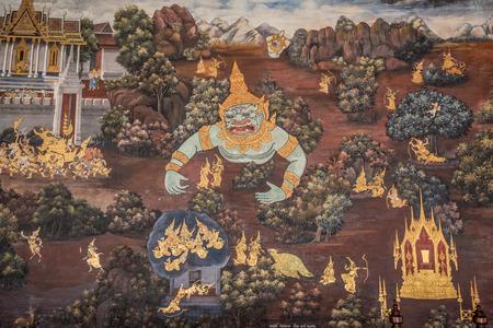 exquisite fairy: Bangkok, Thailand - November 01, 2016 : Wall painting about Ramayana epic story in temple of the Emerald Buddha(Wat Phra Kaew) at royal grand palace,Bangkok.