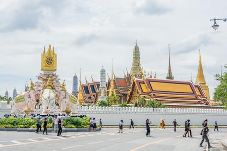 Bangkok, Thailand - November 01, 2016  : The Royal grand palace and Temple of the Emerald Buddha in funeral of His Majesty King Bhumibol in Bangkok.