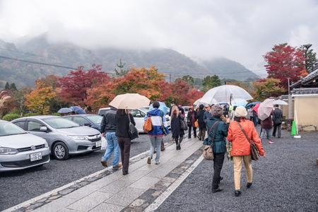 momiji: Arashiyama,Kyoto,Japan-November 26, 2015 : Unidentified tourist visiting the Tenryuji  temple