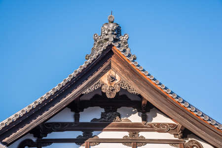 kyoto, Japan - November, 27, 2015 : View of the roof of the pavilions at Kinkakuji Temple Where is the golden pavilion, temple Editorial