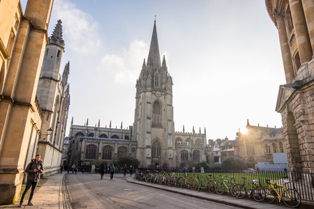 Oxford, UK - December 20, 2016 : View of historic university of Oxford, England. Oxford is known as the home of the University of Oxford. Editorial