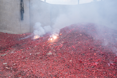 Firecracker exploding in the temple of Thailand