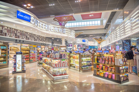 Bangkok- May 2,2018 : King power Duty free shop at Don Mueang Airport, Bangkok of Thailand. Don Mueang International Airport is one of two international airports serving Bangkok, Thailand.