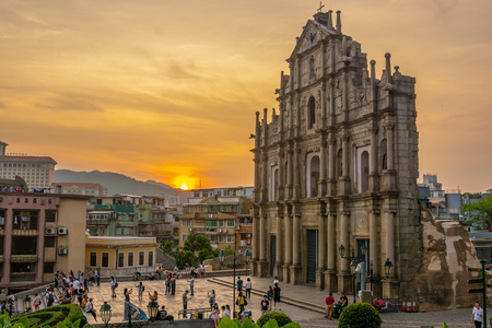 Macua- May 2,2018 : Peoples visit Ruins of St.Paul's on sunset in Macau, most popular city in asia.