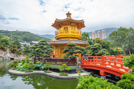 Golden Pavilion In Nan Lian Garden near Chi Lin Nunnery Temple At Hong Kong