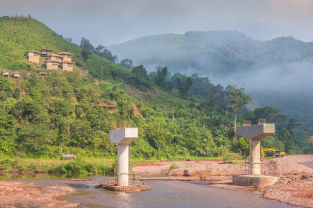 Bridge under construction in a countryside in Thailand