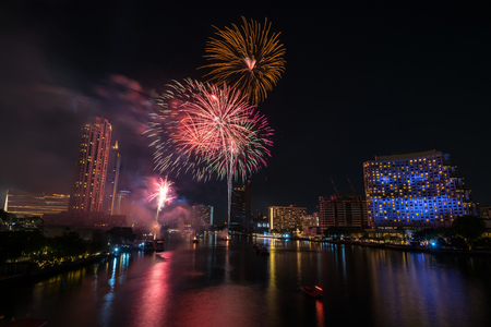 Bangkok new year countdown 2019 fireworks Cityscape river side for Celebration Фото со стока