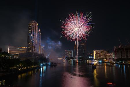 Bangkok new year countdown 2019 fireworks Cityscape river side for Celebration Фото со стока