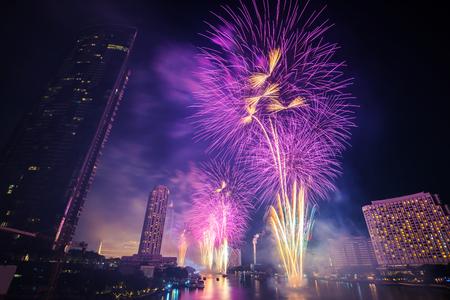 Bangkok new year countdown fireworks 2019 Cityscape river side for Celebration