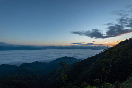 fog and cloud mountain valley landscape on sunrise