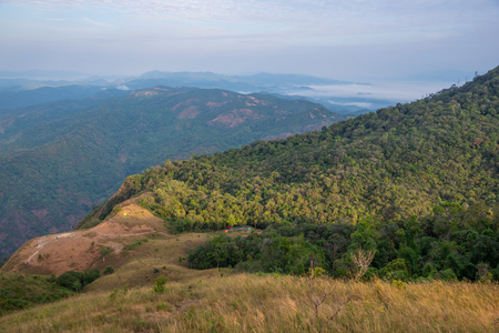 Landscape mountain valley nature forest with camping tents of northern Thailand. Фото со стока