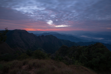 fog and cloud mountain valley landscape on sunrise in Thailand