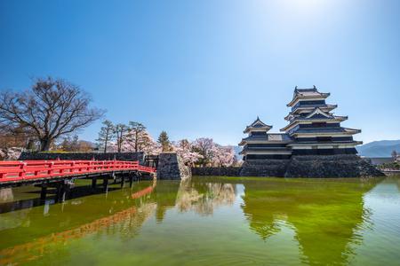 Matsumoto Castle During Cherry Blossom , Nagano Prefecture, Japan Редакционное