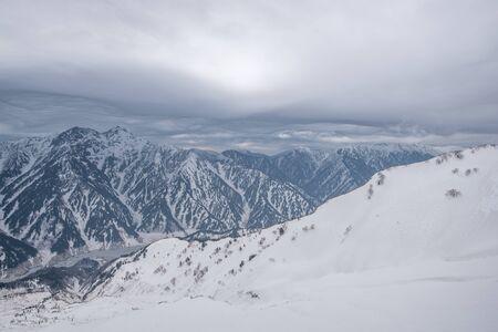 The remaining snow of Tateyama mountain range and lake at the canyon, Kurobeko